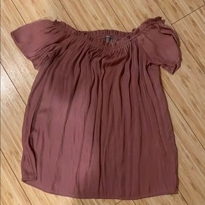 Mauve Off-The-Shoulder Flowy Shirt